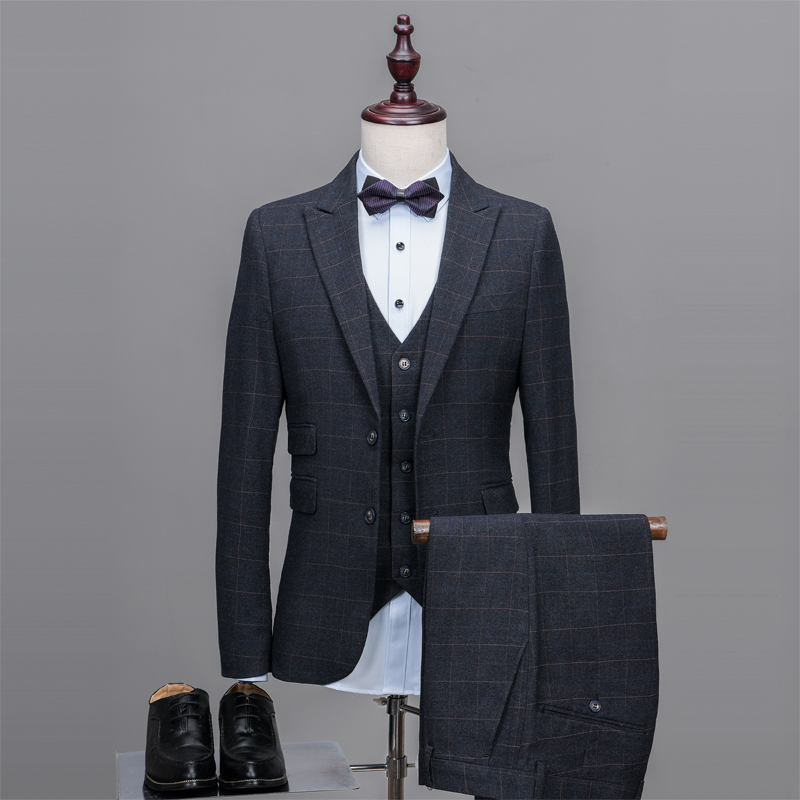 Latest Coat Pant Designs Dark Grey Tweed Suit Men Pattern Formal ...