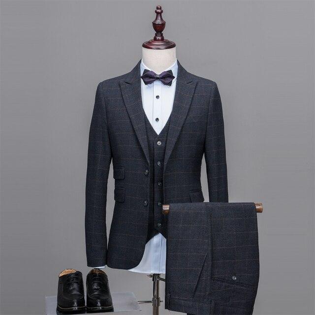 Pantalones gris oscuro traje de tweed hombres patrón formal prom blazer  suave moderno novio Custom 3 2298198969b