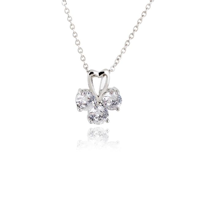 3e66c373dd1b Wholesale Delicate Love White Gold-Color Clear Round Cubic Zirconia Pendant  Women Necklace No Nickel