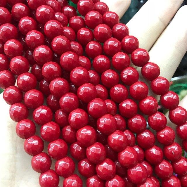 """Pedra Natural de Alta Qualidade Facetada Rodada de Coral Vermelho Dayed Cor Grânulos de Gemstone 15 """"Vertente 6/8/10mm Para A Tomada de Jóias Mulheres"""