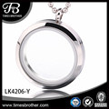 Round Glass Locket for Memory Photo or Ashes Jewelry, 316L Stainless Steel Floating Locket Necklace