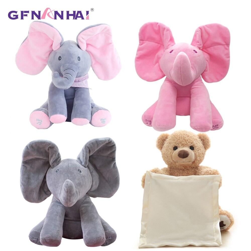 1 stück 30 cm Peek A Boo Elephant & Bär Kuscheltiere & Plüsch Puppe Spielen Musik Elefanten Pädagogisches Anti -stress Spielzeug Für Kinder