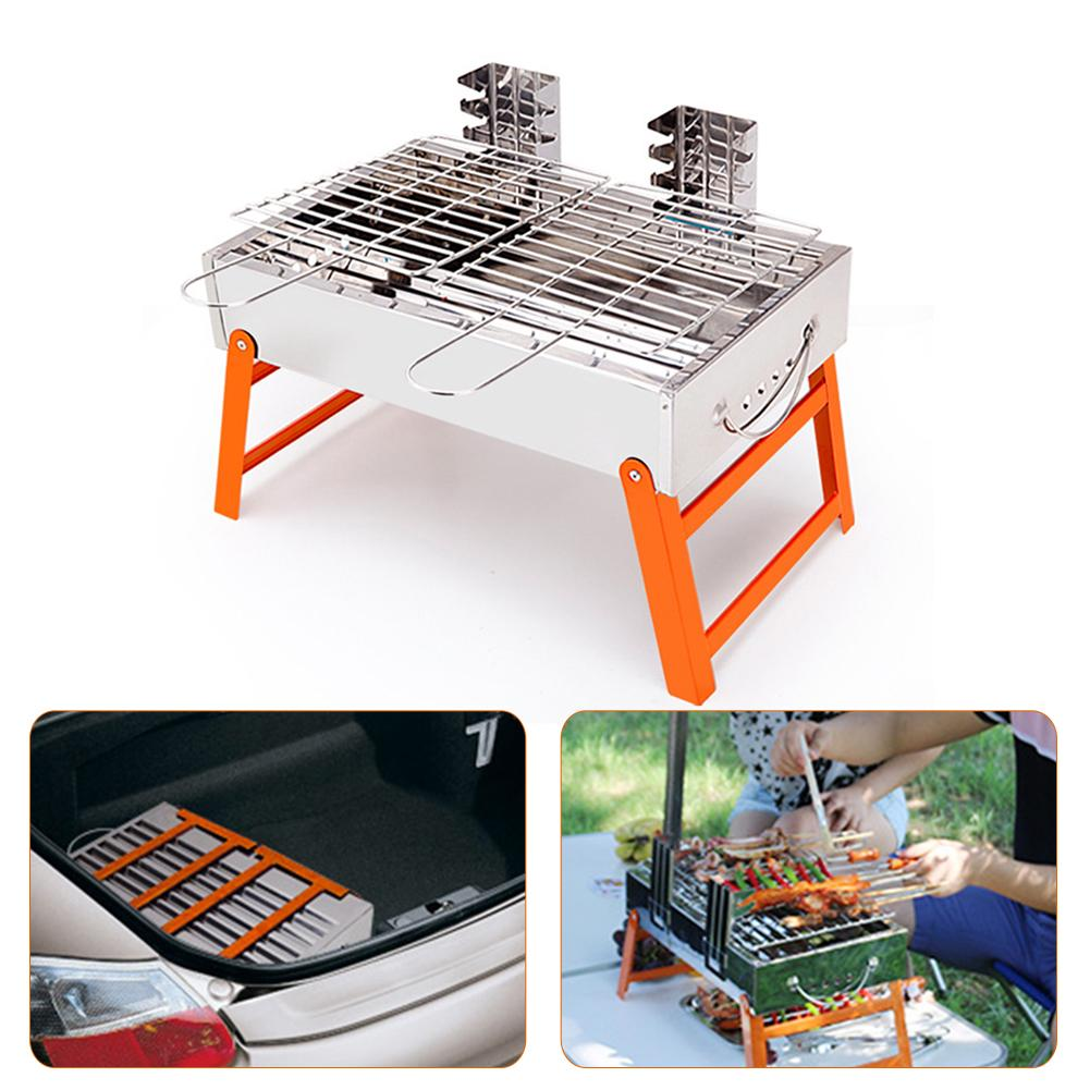 Portable Stainless Steel BBQ Grill 3 Levels Height Adjustable Folding BBQ Grill Barbecue for Outdoor Camping Hiking Picnics