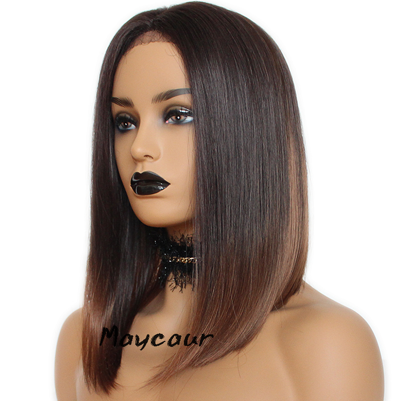 Ombre Brown Bob Synthetic Lace Front Wigs Heat Resistant Short Straight Wig For Women 180 Density