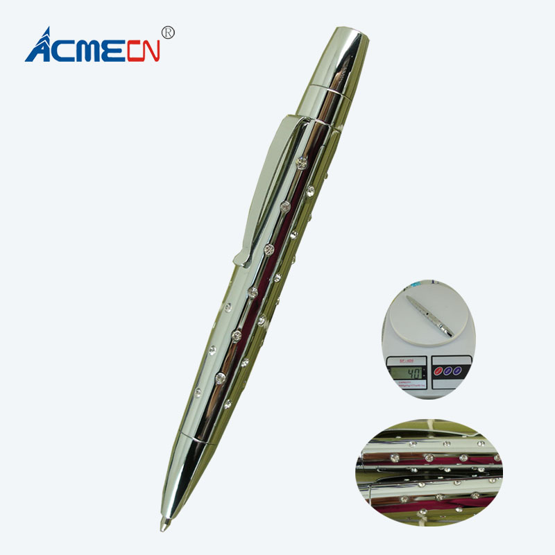 цена на ACMECN Hi-tech Inlay Crystal Ballpoint Pen with 45pcs Crystal Plated Silver Metal Heavy Pen Superior Level crystal Diamond Pen