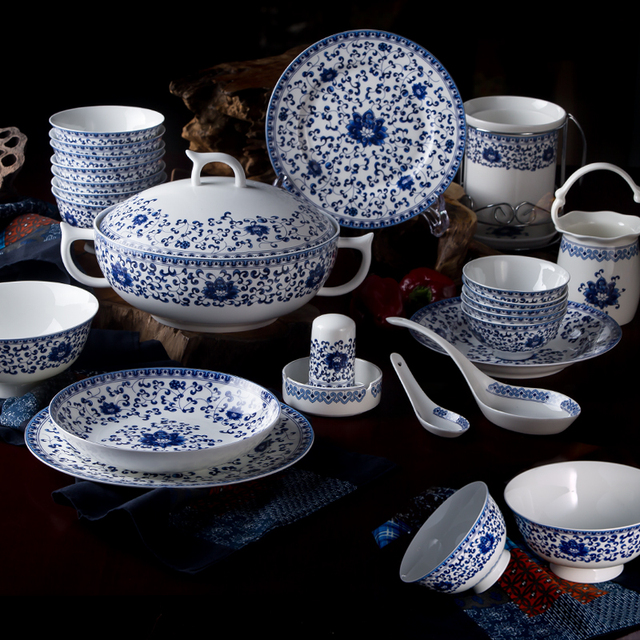 Chinese Style Blue and White Porcelain Tableware Sets of 60 Pcs High Quality Bone China Dinnerware : white bone china dinnerware sets - pezcame.com