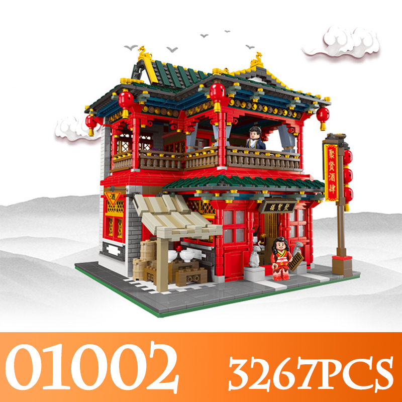 The Chinese Traditional Architecture 01002 3267Pcs The Beautiful Tavern Set Assembly Building Blocks LegoINGLYs Bricks Toys wood in traditional architecture