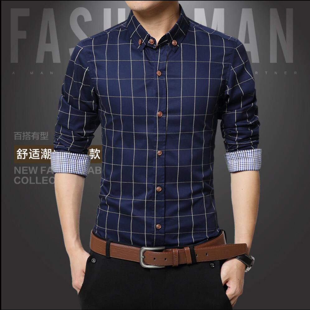 M 5xl 2017 New Summer Fashion Brand Men Slim Fit Long Sleeve Shirt Men Plaid Cotton Casual Men