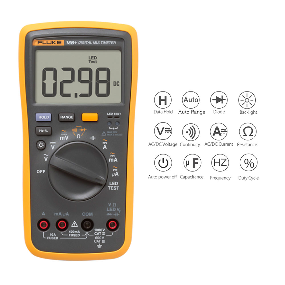 FLUKE Digital Multimeter  Capacitor Tester Mini Multimeter Professional Current Voltage Meter Continuity Test Voltmeter Ammeter