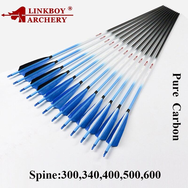 12pcs Linkboy Archery Carbon Arrows Shaft Spine300 600 5 turkey feather 75gr Points Compound Recurve Bow