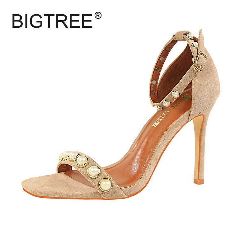 Sexy Open Toe High Heels Women Sandals Fashion Pearl Decoration Ankle Strap Women Party Pumps Shoes New Ladies Evening Sandals