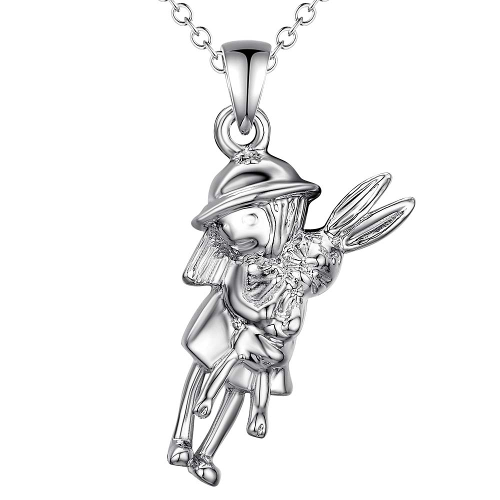girl and little white rabbit wholesale silver plated Necklace New Sale silver necklaces & pendants /SWAAAKSZ AOQZFOIN