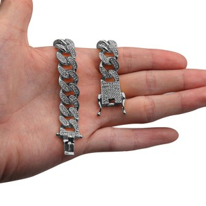 Image 5 - Uwin ensemble collier et Bracelet cubains, Miami, 13mm, avec strass glacés, bijoux hip hop, Bling, Bling, pour hommes