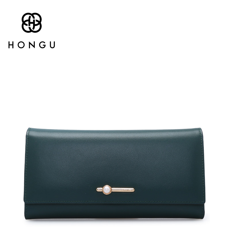Hongu Women Genuine Leather Long Wallet Wristlet Female Women Wallets Famous brand Ladies Long Clutches Coin Purses Holder free shipping new women s wallet cowhide genuine leather wallet for women famous brand wallet plaid shape hot cute women purses