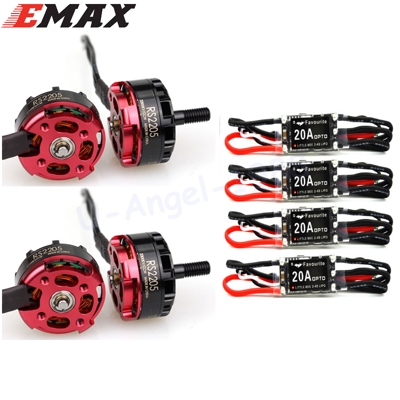 4 pcs Original EMAX RS2205 2300KV CW/CCW Motor + RC plane 4 Pcs 20a Mini Esc 2-4s for FPV Mini Racing Quadcopter lhi fpv 4x mt2206 2300kv cw ccw fpv brushless motor 2 4s 4 pcs racerstar rs20a lite 20a blheli s bb1 2 4s brushless esc