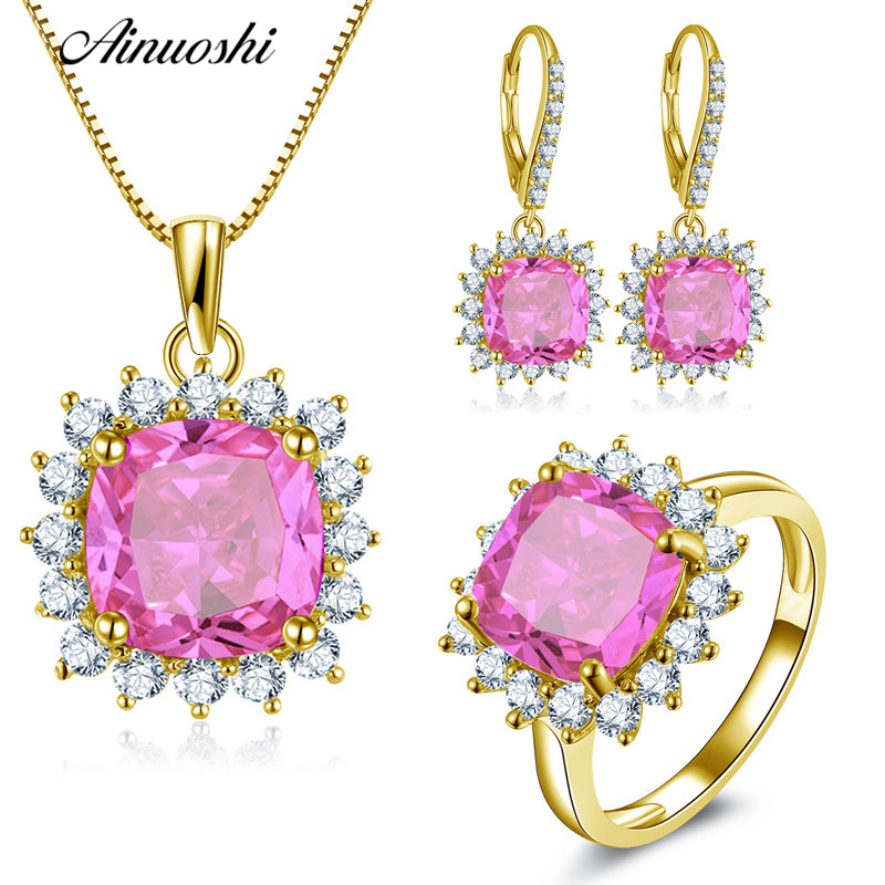 AINUOSHI 10K Solid Yellow Gold Jewelry Set Cushion Cut Pink Pendant Halo Ring Drop Earrings Luxurious Wedding Women Jewelry Sets pair of luxurious rhinestone drop shape pendant earrings for women