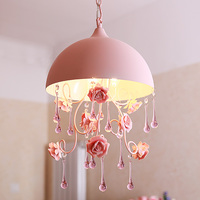 Semi Circular Pendant Lights Pink Countryside Pastoral Style Ceramic Rose Bedroom Stairs Princess Bedroom Pendant Lamps
