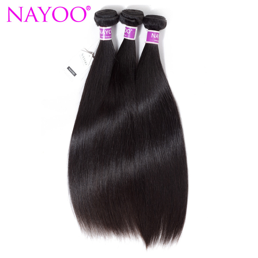 NAYOO Peruvian Hair Weave Bundle Straight Human Hair Weave Extensions Natural Color 100% Remy Hair Weft 8-26