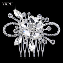 YXPH Woman Hairwear Wedding Handmade Pearl Jewelry Bride Haircomb Environmental Friendly Rhinestone Accessories Crystal Combs