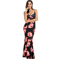 2017 summer style floral print Women clothing Sexy sleeveless blackless beach tunic Club SEXY party Maxi dress vestido de festa