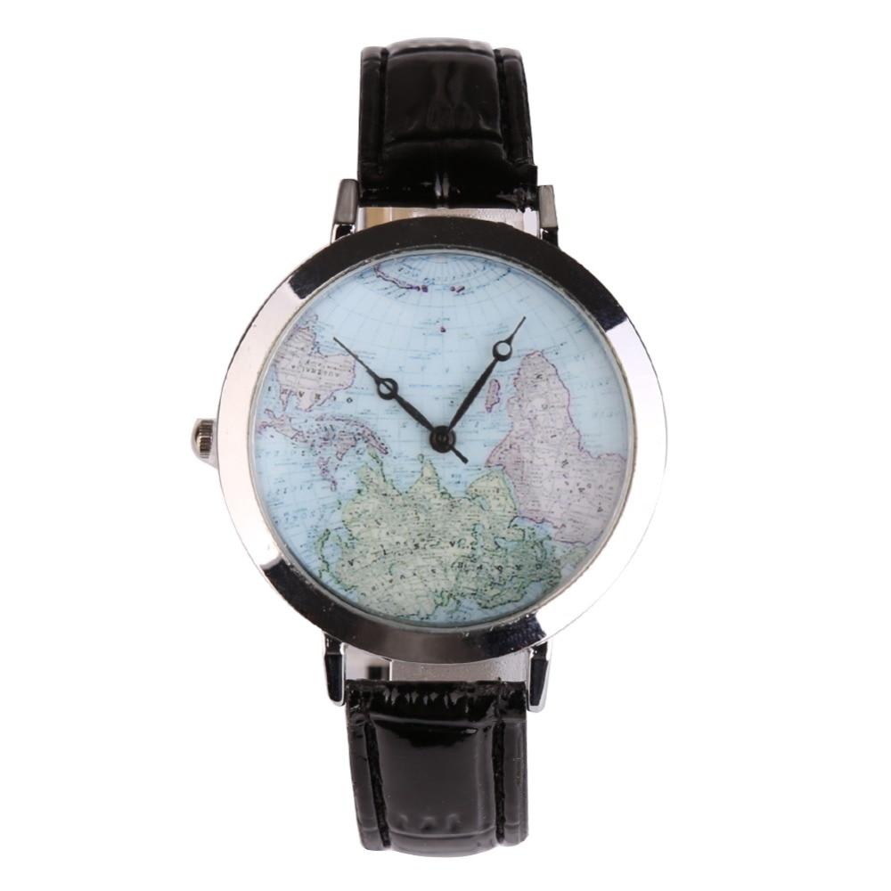 где купить  New Fashion Women Wristwatch Quartz Watch Leather Map Pattern Relogio Feminino Gifts Rejor Mujer Kol Saat Female Clock Black  по лучшей цене