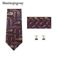 Mantieqingway Mens Claasic Business Necktie Pocket Square Cuff Links Gravata Corbatas Ties For Men Hanky Suits Cravat Hombre