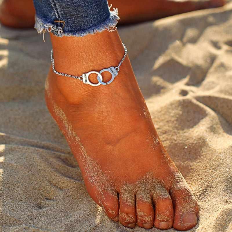 בוהמי חופש קרסול צמידי עבור נשים בציר כסף אזיקים צמידי קרסול תליון רגליים החוף יחף תכשיטי Bijoux