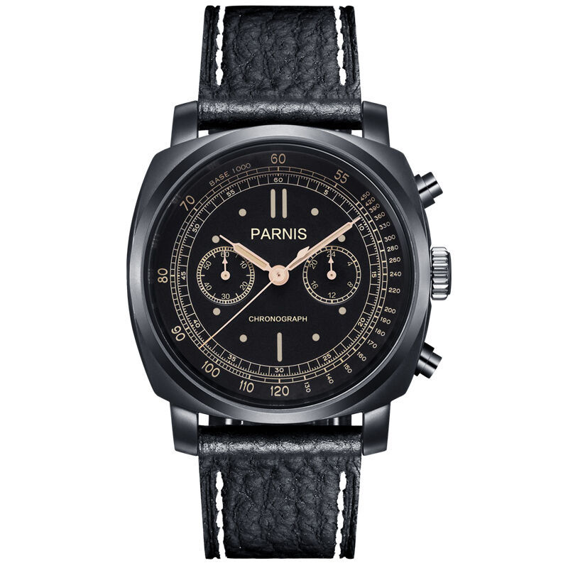 Parnis Pilot Seriers Luminous Mens Leather Watchband Military Sport Chronograph Quartz font b Watch b font