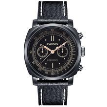 Parnis Pilot Seriers Luminous Mens Leather Watchband Military Sport Chronograph Quartz Watch Wristwatch