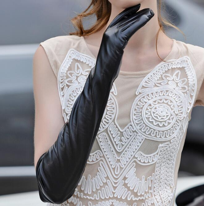 Women's winter thicken fleece lining long glove lady's natural sheepskin leather glove long leather driving glove <font><b>R308</b></font> image
