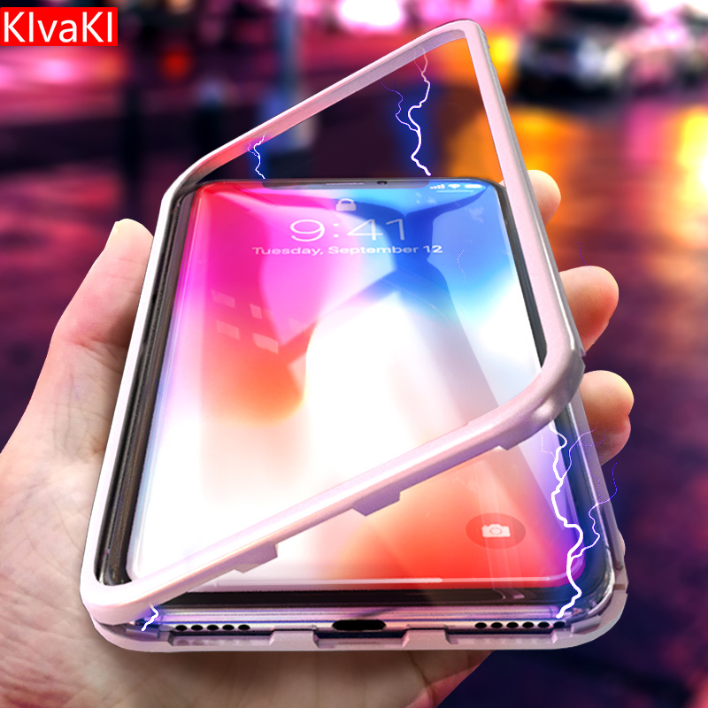 KIvaKI Phone Case for IPhone X 8 plus 7Plus Clear Tempered Tempered Glass Cover + Built-in Magnet Case for IPhone 7 Metal Cover