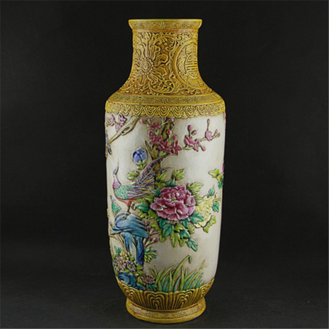 5 Antique Old Chinese Porcelain Vasepastel Carving Bottlewith Mark