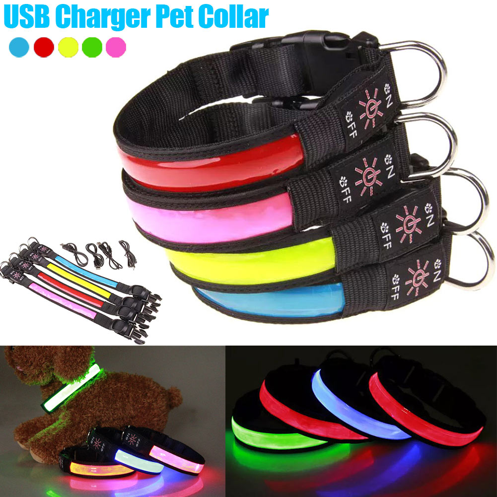 USB Rechargeable Super Bright Night Light Pet Neck Ring LED Dog Pets Safety Collar Hot Sale
