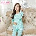 Inverno pijamas de algodão desgaste de Maternidade Grávida Mulheres No Pós-parto Amamentação Pijamas Primavera E No Outono Longo-Vestido de mangas compridas