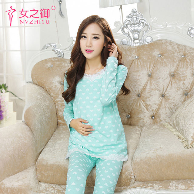 winter wear cotton pajamas Maternity Pregnant Women Postpartum Breastfeeding Pajamas Spring And Autumn Long-sleeved Dress