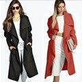2016 Скорость Продажа женской Верхней Одежды Ветровка Европейский Станции Осень Пояса Большой Шерстяное Пальто