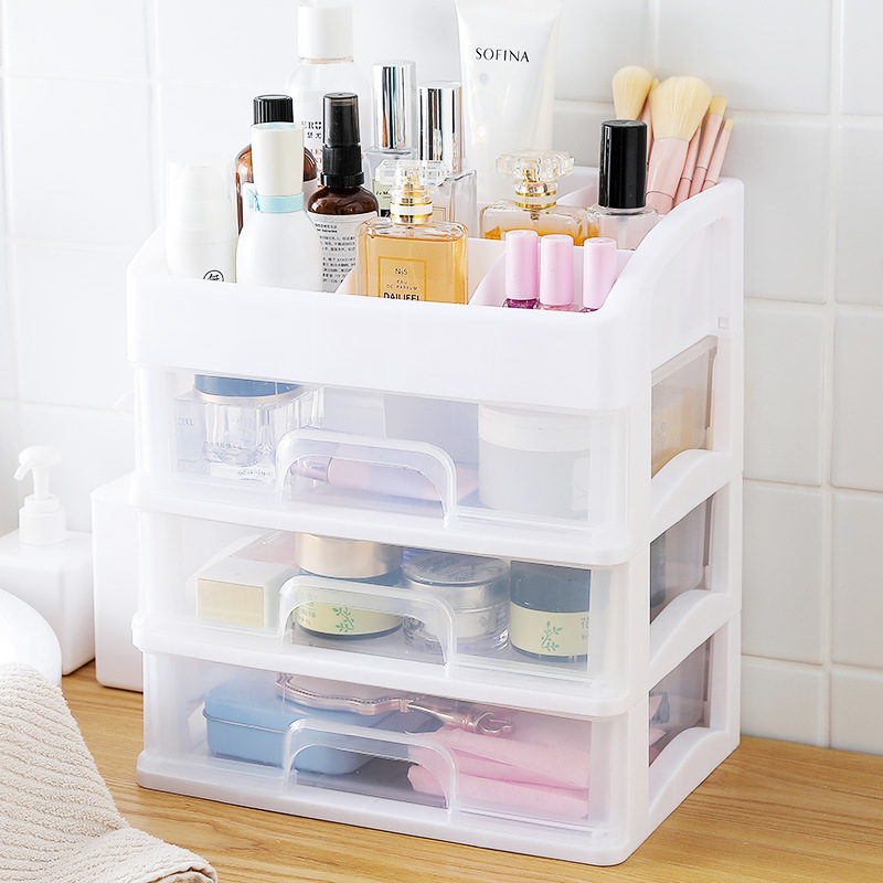 Plastic Cosmetic Storage Box to Organize Makeup with Drawers for Dressing Table of Women