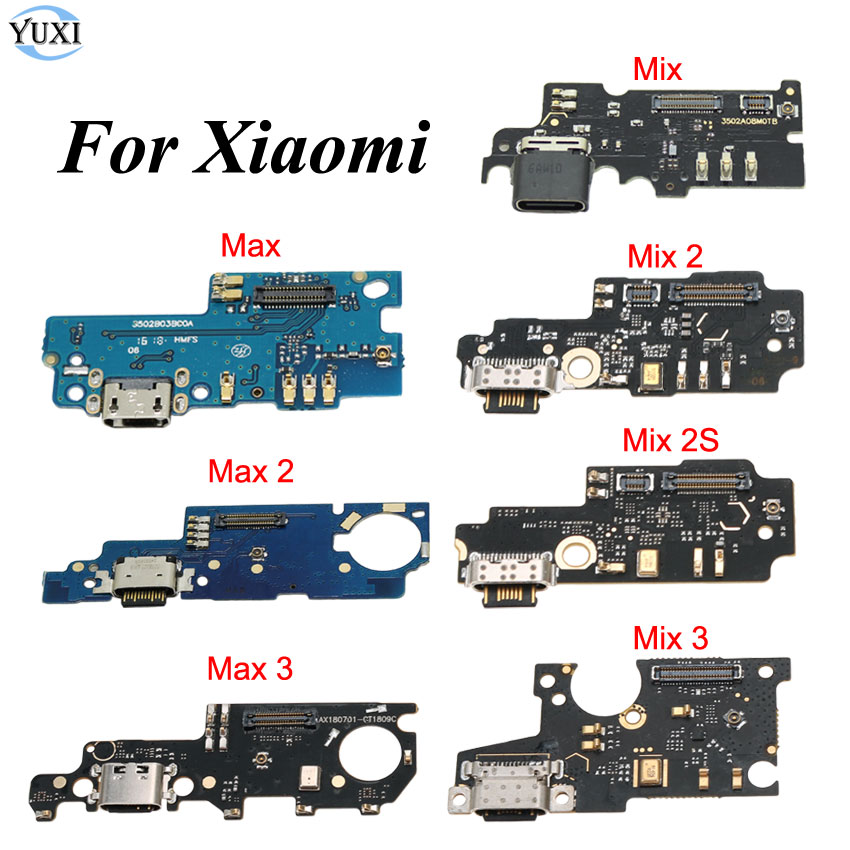 YuXi USB Port Charger Dock Plug Connector Flex Cable For Xiaomi Mi Max 2 3 Mix 2 2S 3 Charging Port Board Replacement