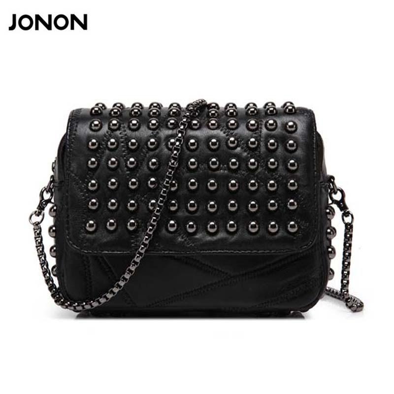 JONON Women Bag Genuine Leather Punk Messenger Bags Handbags Women Flap Famous Brand Mochila Feminina Dollar Price WHB002 brand mochila feminina women s 100
