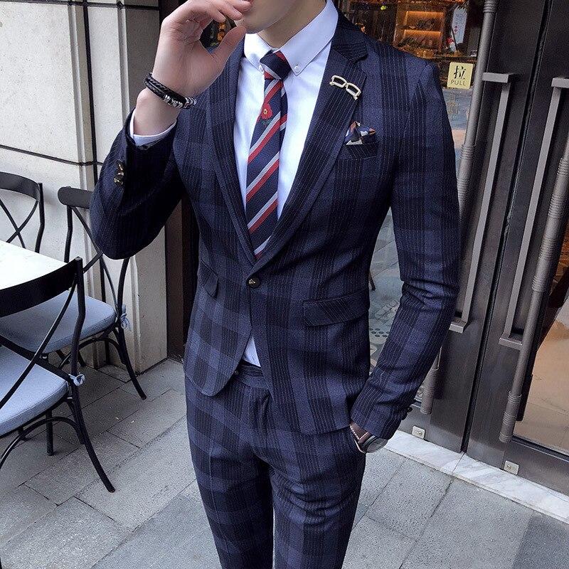 Grandes para Hombre a cuadros traje tobillo longitud traje Homme Mariage  café raya azul cheque elegante Trajes De Hombre Novio Traje a cuadros para  los ... 1d82a7c4623