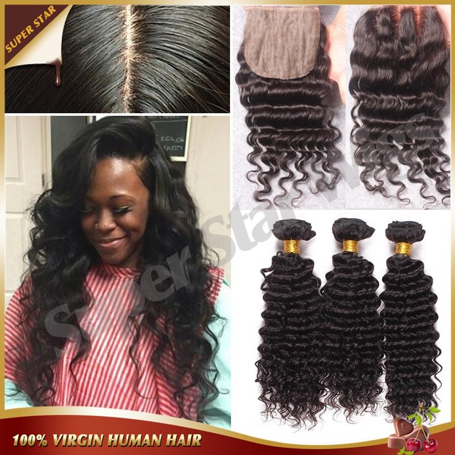 ФОТО Brazilian Deep Wave Silk Base Closure With Bundles 4 Pcs Lot Brazilian Virgin Hair 3 Bundles Deep Wave With Silk Closure DHLFree