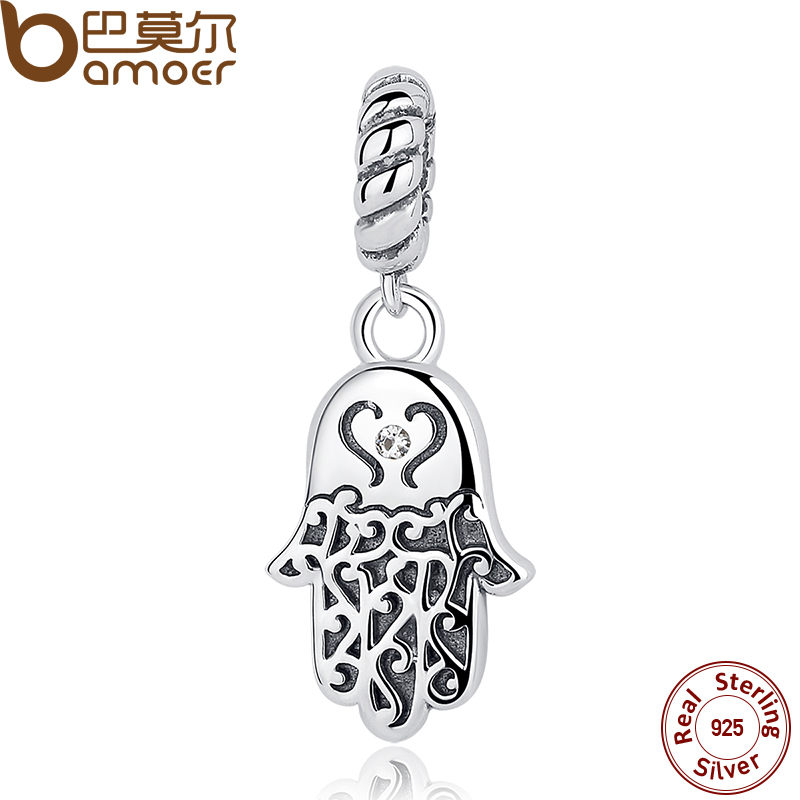 BAMOER 925 Sterling Silver Lucky Hamsa Hand Pendants Charm fit  Bracelet & Necklace for Women New Collection SCC031