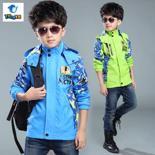 Children Outerwear Warm  Kids Sporty Clothes Boys Waterproof Windproof Fashion Jackets 4-15Y 2 Colors  new Autumn and Winter