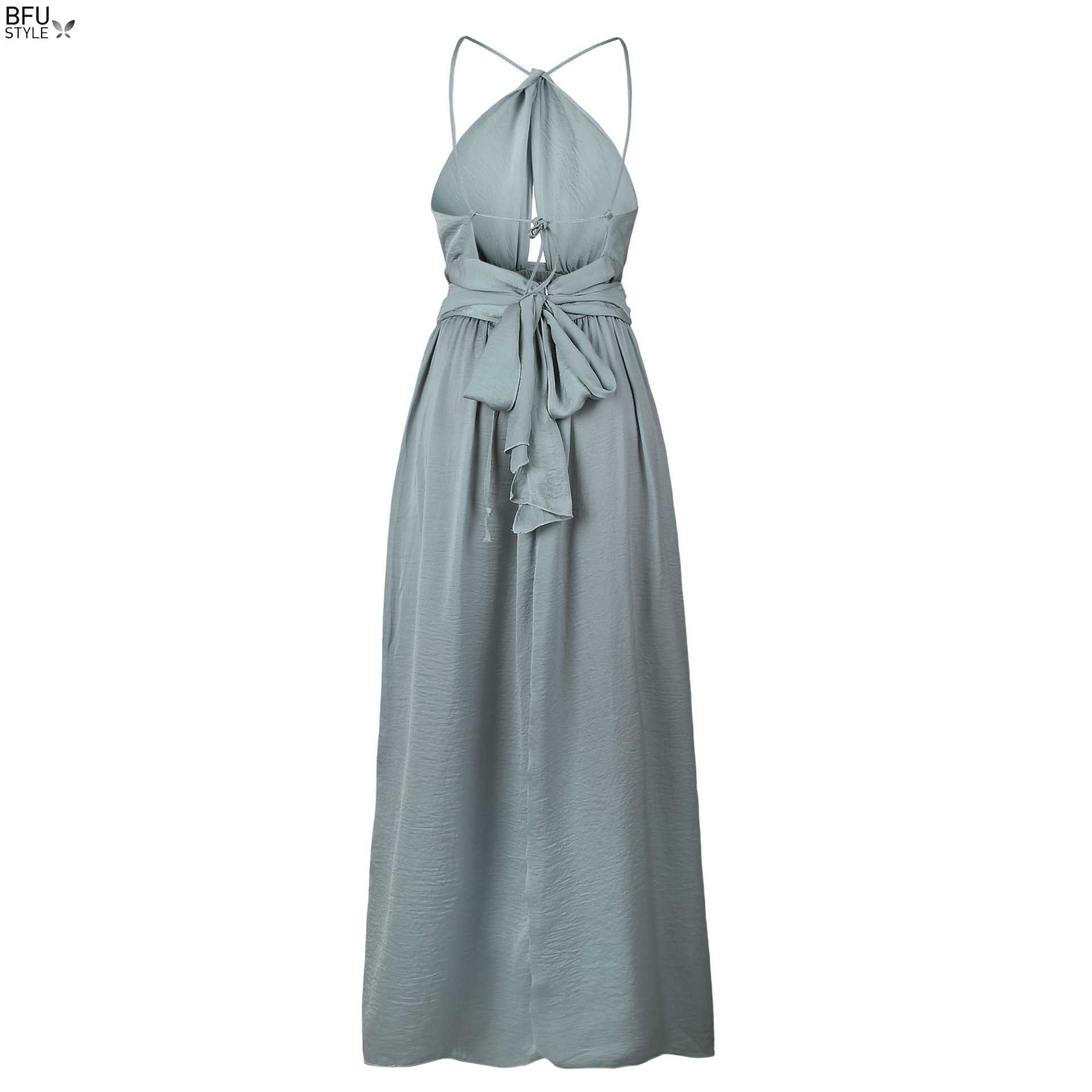 ... Sexy Maxi Dress Women Summer Backless Long Dress Elegant Halter Lace Up  Boho Wedding Party Dresses ... 44f74e2ecd84