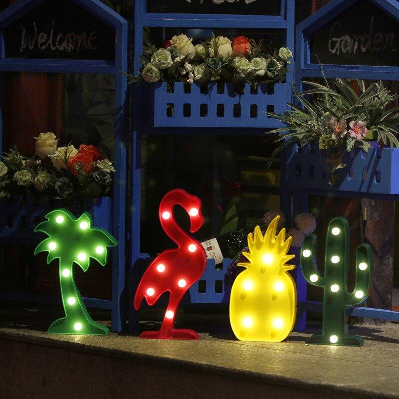 3D Flamingo Ananas Cactus Luci notturne tendone Ha CONDOTTO LA LETTERA di notte Della Lampada Per Le Hawaii Partito Di gallina Di trasporto del Bambino Camera Da Letto Decorazione Regalo Dei Capretti