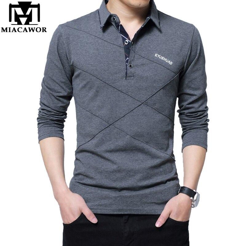 MIACAWOR Plus Size Men   Polo   Shirt Cotton Slim Fit Camisa   Polo   Spring Autumn Long Sleeve Men Tops Tee 4XL 5XL   Polo   Shirt T665