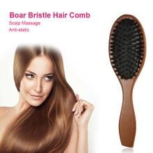Wooden Massage Natural Boar Bristle Hairbrush Massage Comb Anti-Static Hair Scalp Brush Wooden Handle Hair Brush Styling Tool