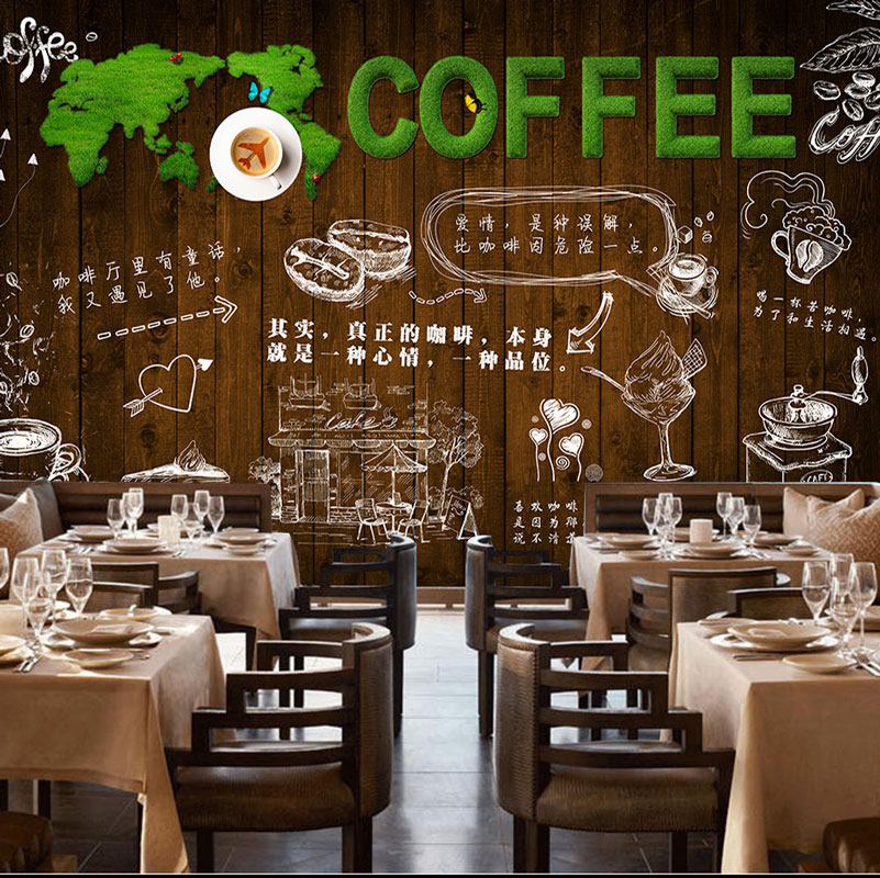 Cafe Bar Wall Decor Papier Murals Vintage Wood Wall Photo Wall ...