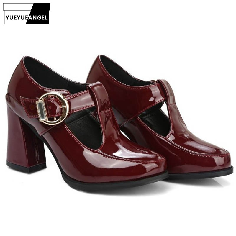 2019 New Retro Preppy Type Buckle T Strap Patent Leather-based Womens Footwear Spherical Toe Shiny Gown Footwear Hole Zapatos Mujer Black zapatos mujer, spherical toe, t strap,Low-cost zapatos mujer,Excessive...