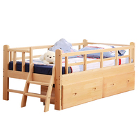 Wooden Children S With Guardrail Crib Single Boy Girl Princess Baby Widened Stitching Bed